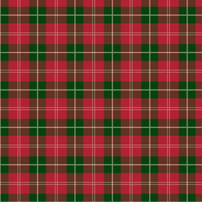 Christmas Holly Green and Red Plaid Tartan with White Lines