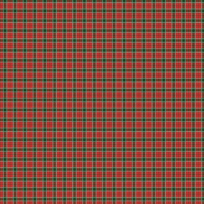 Christmas Red and Dark Green Tartan with Double White Lines