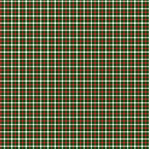 Christmas Holly Green and Red Tartan Check with Wide White Lines
