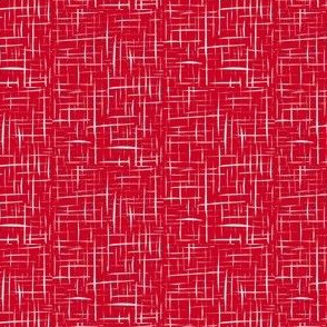 Sketchy Trickles of Silver Mist on Festive Red - Small Scale