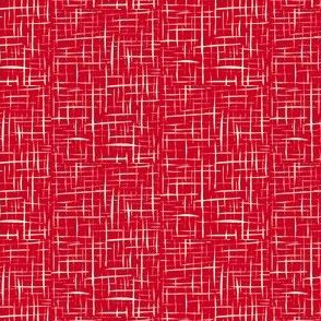 Sketchy Trickles of Jersey Cream on Festive Red - Small Scale