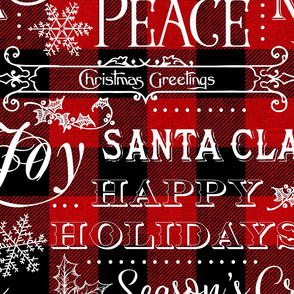 Christmas Typography on textured Red Buffalo Plaid - large scale