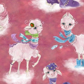 llamas on clouds pink FLWRT