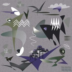 Lilac plum artichoke gray green outdoors ocean sky birds fish