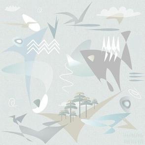 Light Celadon turquoise teal outdoors ocean sky birds fish
