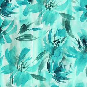 Biscay green watercolor flowers • brushed florals