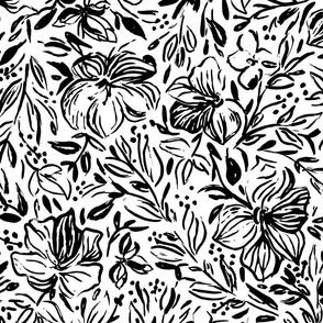 Hibiscus flowers in black ink