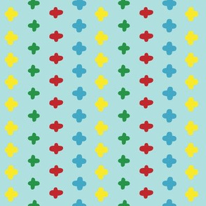 Vector colorful crosses stitches aligned on blue background, seamless pattern