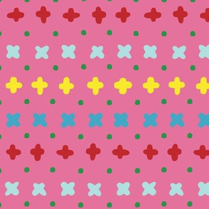 Vector colorful crosses stitches aligned on pink background, seamless pattern