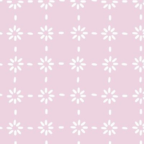 White vector flowers stitches aligned on pink background, seamless pattern