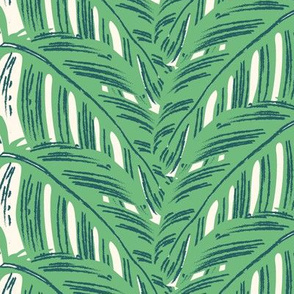 Overlapping tropical leaves/green
