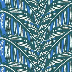 Overlapping tropical leaves/blue