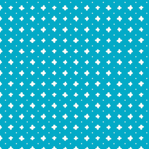 White vector crosses stitches aligned on blue background, seamless pattern