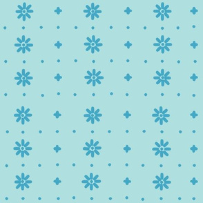 Christmas snowflake vector with simple modern blue stitches on light blue background, seamless pattern