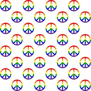 One Inch Horizontal Rainbow Striped Peace Signs on White