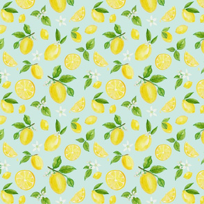 Lemons in Watercolor on Blue - Small Scale - by heather anderson