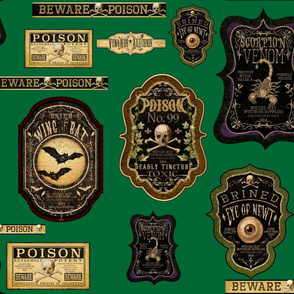 Forest Green Apothecary Labels