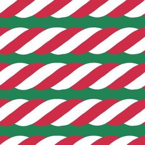 Candy Cane twist - horizontal, green