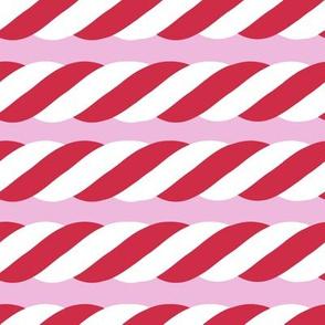 Candy Cane twist - horizontal, pink