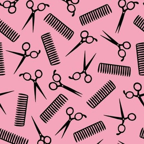 Comb and Scissors (pink background)