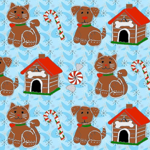 Gingerbread Pets with Blue Background