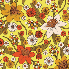 1970s Hippy/Flower Power Yellow, Orange & Brown Pattern