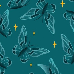 Teal Sparkling Moths | LARGE