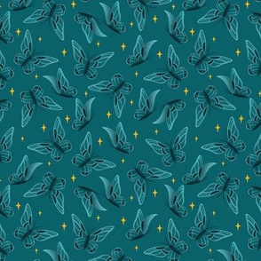 Teal Sparkling Moths | SMALL