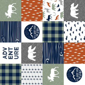 Happy Camper || Wholecloth Quilt Top - burnt orange navy & sage (90) C19BS