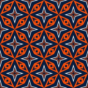 Edmonton Oilers Hockey Geometric Stars Team Colors Blue Orange