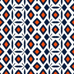 Edmonton Oilers Hockey Diamond Geometric Team Colors Blue Orange
