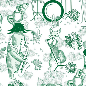 Jungle Jam- Whimsical Toile- Emerald Green Woodland Band- Large Scale