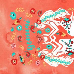 Boho Zodiac Sign- Gemini Astrology Tea Towel