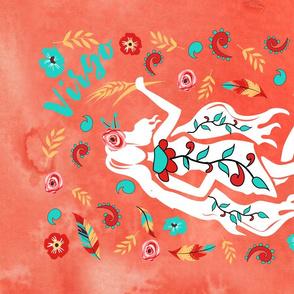 Boho Zodiac Sign- Virgo Astrology Tea Towel