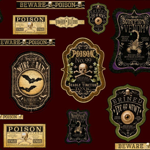 Burgandy Apothecary labels