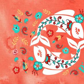 Boho Zodiac Sign- Pisces Astrology Tea Towel