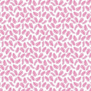Tossed Foliage - Bright Pink on White