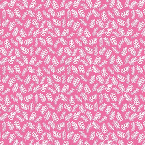 Tossed Foliage - White on Bright Pink