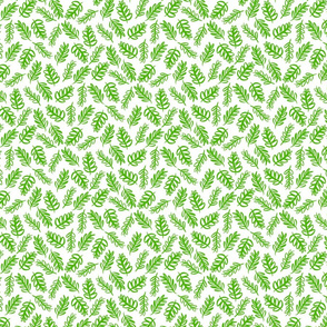 Tossed Foliage - Bright Green on White