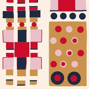 """Geocity"" Geometric Cityscape Abstract-Pink"