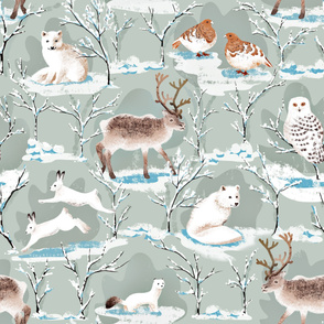 Large Scale Winter Wonderland Arctic Animals
