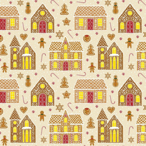 Gingerbread houses, beige (large scale)
