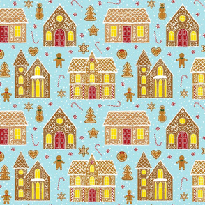 Gingerbread houses, blue (large scale)