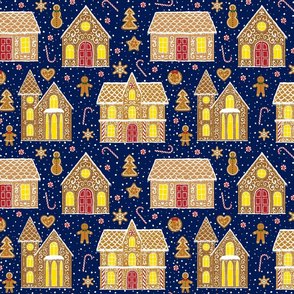 Gingerbread houses, dark blue (large scale)