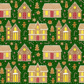 Gingerbread houses seamless, dark green (large scale)