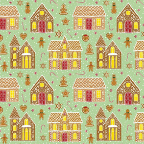 Gingerbread houses, green (large scale)