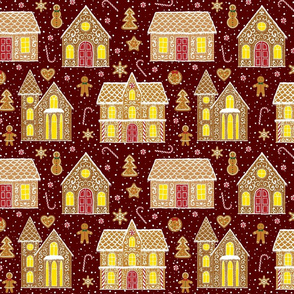 Gingerbread houses, red (large scale)