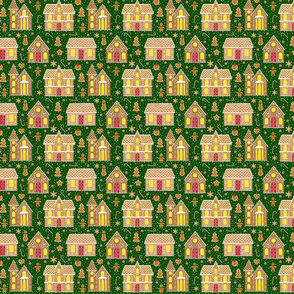 Gingerbread houses, dark green (small scale)