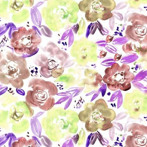 Taupe and lemon watercolor pretty flowers • hand painted florals