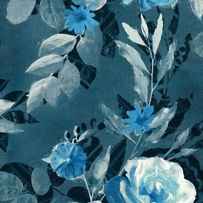 Over-sized Retro Rose Chintz in Monochrome Denim and Sky Blue